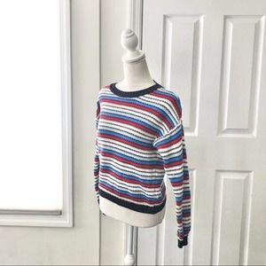 FINAL F21 Red Blue Cotton Stripe Fitted Sweater